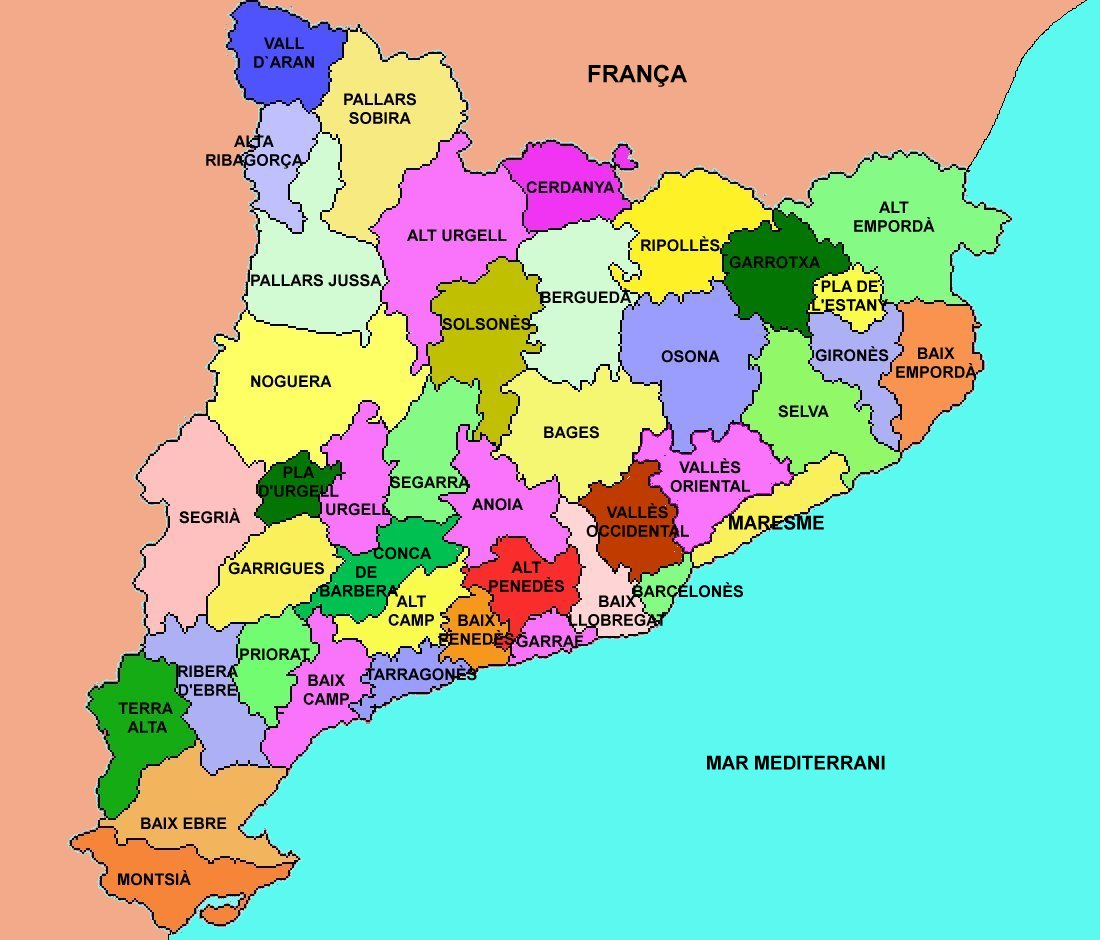 Resultat d'imatges de comarques catalunya